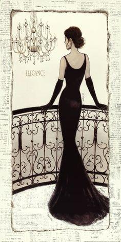 Emily Adams Poster Print Kunstdruck mit dem Titel La Belle Noir, None – Jet – Join the world of pin Mode Vintage, Vintage Ladies, Fashion Art, Vintage Fashion, Fashion Design, Emily Adams, Illustration Mode, Fashion Sketches, Fashion Illustrations