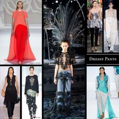 Top 14 trends from spring 2014: Dressy Pants. Love it or hate it, many runways featured dresses that were layered over trousers. Expect to see this trend continuing on the red carpets.