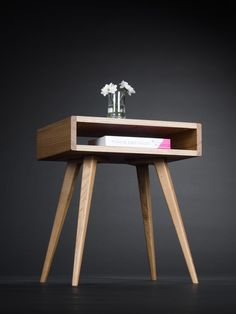 Nightstand, night stand, bedside table, bed side table, end table, side table, open shelf, scandinavian design, mid century modern by MoWdwrk on Etsy https://www.etsy.com/listing/468614710/nightstand-night-stand-bedside-table-bed