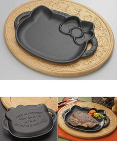 Hello Kitty Die-Cut Steak Platter - Made by a Hokkaido metal maker in association with Sanrio, Japan's favorite cat will now be joining you at dinner time with this Hello Kitty Die-Cut Steak Platter. A set of wooden tray and iron steak plate, each uniquely decorated with Kitty's face and other iconic characteristics.$ 201    link