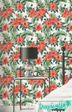 Hibiscus Palm Wallpaper - Removable Wallpapers - Floral Hibiscus Wallpaper - Self Adhesive Wall Decal - Temporary Peel and Stick Wall Art Palm Wallpaper, How To Hang Wallpaper, Wallpaper Panels, Peel And Stick Wallpaper, Stick Wall Art, Cement Walls, Traditional Wallpaper, Tropical Decor, Wall Spaces