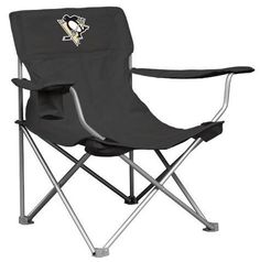 NHL Pittsburgh Penguins Canvas Chair by Logo. $29.95. Features two adjustable arm rests with a cup holder on the right arm rest. Logo featured on the front and back of headrest and the carrying bag.
