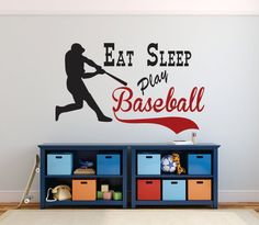 Baseball Wall Decal, Eat Sleep Play Baseball, Baseball Decor, Sports Decor,  Boys