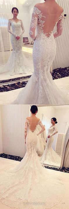 Famous Trumpet/Mermaid Wedding Dress,Off-the-shoulder Bridal Gowns,Tulle Court Train Appliques Lace Wedding Gowns,Long Sleeve Wedding Dresses