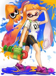Tags: Fanart, Pixiv, PNG Conversion, Fanart From Pixiv, Pixiv Id 2667490, Splatoon, Inkling (Splatoon), Inkling (Squid)