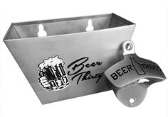 $16.95  (2 Items) - Wall Mounted Bottle Opener Beer Thirty w/ Matching Stainless Steel Cap Catcher & Stainless Steel Screws by Barware Gear