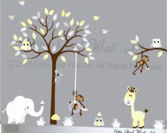 Childrens nursery tree, Children Wall decal, Nursery Tree Vinyl Decal, Wall decals nursery, Nursery wall decal, Nursery decals, nursery