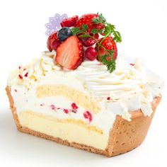 White Rare Cheese Mont Blanc: Blueberry + strawberry + cream cheese + raspberry tart custard. Decorated Mont Blanc style.