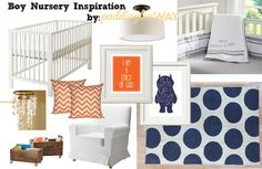 Classic boy [navy blue & orange] nursery. | Paddington Way.
