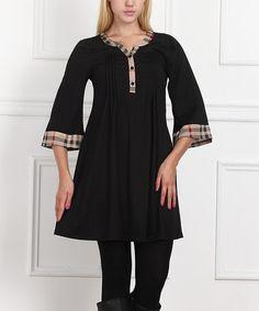 Another great find on #zulily! Black & Beige Plaid-Trim Dress #zulilyfinds
