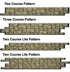 it is easy to add style to a retaining wall, by simply mixing different block sizes in a pattern like these ones.