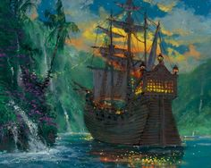 Amazon.com: Disney Fine Art Gallery Wrapped Giclee - Neverland Bay by James Coleman Peter Pan Tinkerbell: Oil Paintings