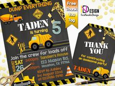 Construction Invitation FREE tag, Construction Birthday Invitation, Dump truck invitation, Dump truck birthday invitation,Construction party by IrisNaiderDesign on Etsy Construction Birthday Invitations, Construction Party, Everything Free, Thank You Tags, Dump Truck, Personalized Invitations, 2nd Birthday Parties, Rsvp, Printables