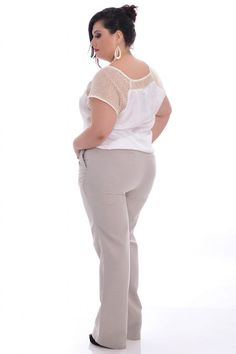 Calça Marfim - VK Moda Plus Size