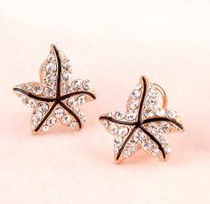 Starfish Full Rhinestone Statement Ear Clips | LilyFair Jewelry, $11.99!