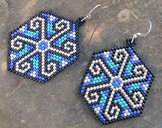 Blue and Turquoise Solar Seed Bead Earrings  by Anabel27shop
