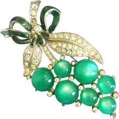 Vintage 1930s Coro Pin Brooch of Green Moonstones, Green Enamel and Tiny Rhinestones
