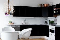 black kitchen cabinets cool white light