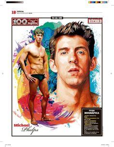 Michael Phelps 100 Leyendas del Deporte / 100 Sports Legends by Jesús R. Sánchez, via Behance