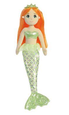 """NEW SEA SPARKLES 17/"""" AQUA  the MERMAID Rag Doll Plush Cuddly Soft Toy by AURORA"""
