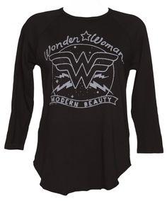 Ladies Washed Black Modern Beauty Wonder Woman Oversized Dipped Hem T-Shirt