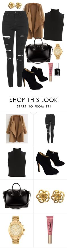 """Untitled #153"" by marr-neubauerova on Polyvore featuring WithChic, Topshop, Elizabeth and James, Giuseppe Zanotti, Givenchy, Michael Kors, Too Faced Cosmetics and Essie"