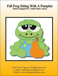 FALL FROG SITTING WITH A PUMPKIN by JODY VIGEANT -- WALL HANGING 1/2