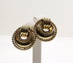Gold Tone Doorknocker Style Post Earrings by KatsCache on Etsy
