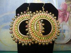 Beadwork Hoop Earrings  Metallic Lime Seed Bead by WorkofHeart