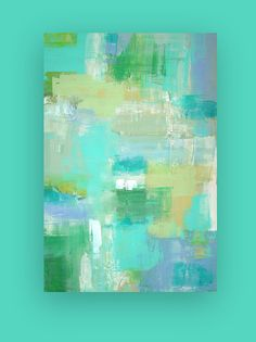 "Abstract Acrylic Painting Original Art on Canvas Turquoise and Blue Titled: Playtime 24x36x1.5"" by Ora Birenbaum"