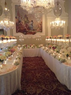 Pastel flowers compositions in vases, pastel flowers external runner with tea light candles and crystal candlelabras