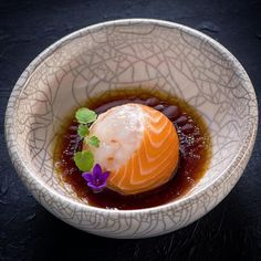 Salmon-Crab ball amuse bouche by Seafood Recipes, Gourmet Recipes, Cooking Recipes, Catering Food, Molecular Gastronomy, Teller, Culinary Arts, Creative Food, Food Design