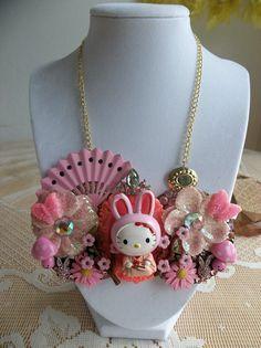 zodiac kitty bunny bib necklace by gumdropglamour on Etsy, $65.00