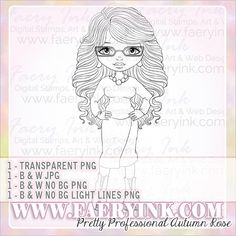 Pretty Professional Woman Office Glam UNCOLORED Digital Stamp