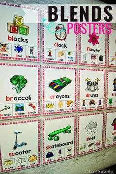 Introduce and reinforce blends with these beautiful phonics posters. These posters will serve as an excellent reference for students throughout the school year. Phonics Bulletin Board, Teacher Bulletin Boards, Bulletin Board Display, Decoding Strategies, Clock Flower, Sound Words, Consonant Blends, Jolly Phonics, Compound Words