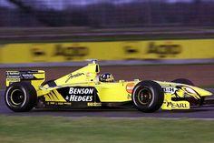 Benson & Hedges Jordan No.7 Damon HILL JORDAN 199 MUGEN MF-301HD NA3.0L V10 Bridgestone Benson & Hedges, Damon Hill, Formula 1 Car, F1 Drivers, F1 Racing, Indy Cars, Big Men, Grand Prix, Race Cars