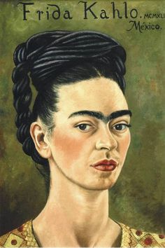 Frida Kahlo. Self-portrait in red and gold dress. 1941
