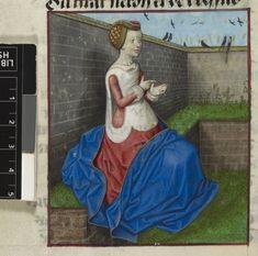 Nature in a garden=Guillaume de Lorris and Jean de Meun Roman de la Rose OriginNetherlands, S. (Bruges) Datec. 1490-c. 1500 LanguageFrench