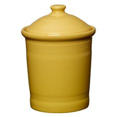 Shop Fiestaware | The 1-quart Fiesta Ceramic Storage Canister in Sunflower Yellow has a matching lid with a rubber gasket to provide an airtight seal to keep your coffee, tea, sugar, flour, or cookies fresh. Made in the USA by Homer Laughlin China. $49.99