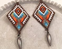 Seed Bead Silver and Topaz Dangle Earrings Tribyza by Calisi