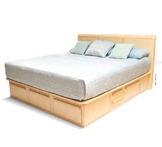 woodworking skeleton bed with drawers