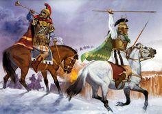 """Thyni night attack, 400 BC"", Angus McBride:  • Thracian trumpeter  • Thracian bodyguard cavalryman"