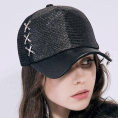 5616d77f919 Adjustable studded baseball cap with metal ring black hip hop trucker caps