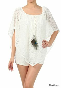 Ivory Crochet Lace Romper With A Poncho-overlay Top With A Front Tie