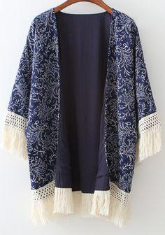 Kimono décontracté à franges floral -bleu marine -French SheIn(Sheinside)