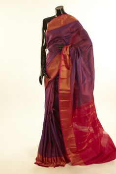 silk purple violet saree with blouse