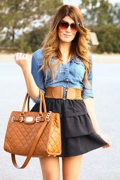 black skirt with denim shirt...