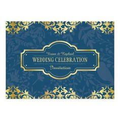Elegant Luxury Golden Ornament Wedding Invitation