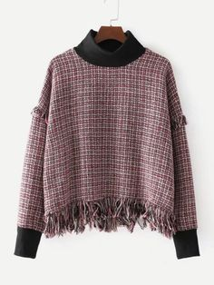 SheIn offers Contrast Trim Fringe Hem Tweed Top & more to fit your fashionable needs. Winter Blouses, Winter Tops, Tweed, Boho Outfits, Fashion Outfits, Blouse Vintage, Feminine Style, Sewing Clothes, Pull