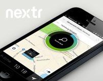 Gradient & Black for progress indicators.  nextr app . public transportation guidance